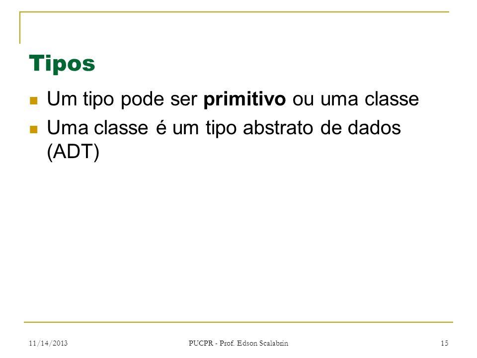 11/14/2013 PUCPR - Prof. Edson Scalabrin 15 Tipos Um tipo pode ser primitivo ou uma classe Uma classe é um tipo abstrato de dados (ADT)
