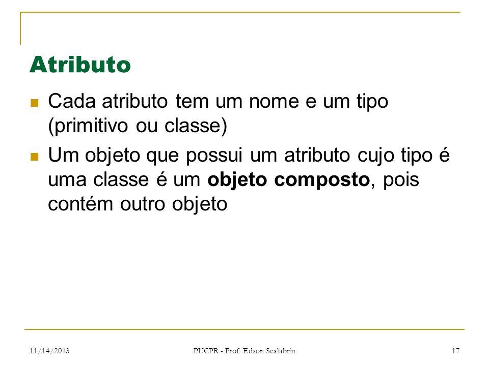 11/14/2013 PUCPR - Prof. Edson Scalabrin 17 Atributo Cada atributo tem um nome e um tipo (primitivo ou classe) Um objeto que possui um atributo cujo t