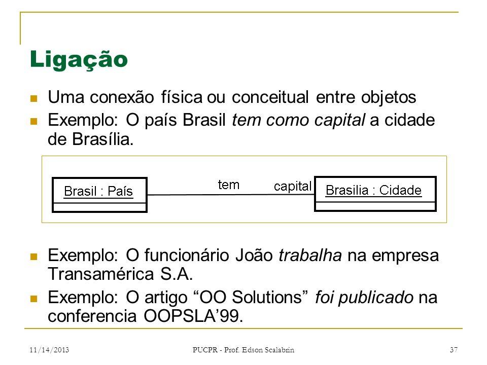 11/14/2013 PUCPR - Prof. Edson Scalabrin 37 Ligação Uma conexão física ou conceitual entre objetos Exemplo: O país Brasil tem como capital a cidade de