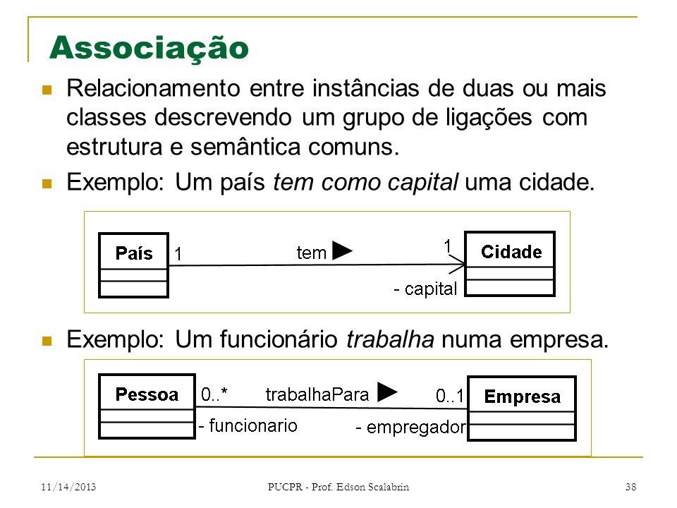 11/14/2013 PUCPR - Prof. Edson Scalabrin 38 Associação Relacionamento entre instâncias de duas ou mais classes descrevendo um grupo de ligações com es