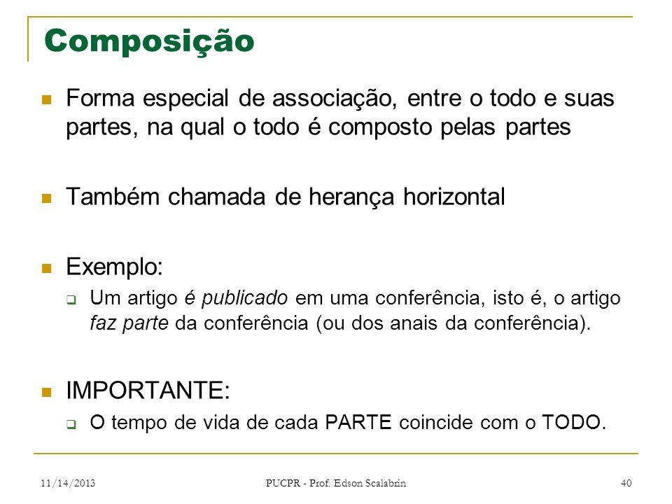 11/14/2013 PUCPR - Prof. Edson Scalabrin 40 Composição Forma especial de associação, entre o todo e suas partes, na qual o todo é composto pelas parte