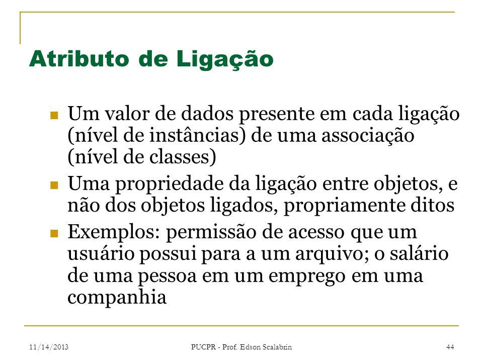 11/14/2013 PUCPR - Prof. Edson Scalabrin 44 Atributo de Ligação Um valor de dados presente em cada ligação (nível de instâncias) de uma associação (ní