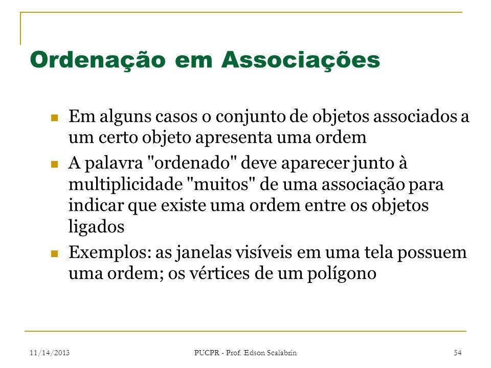 11/14/2013 PUCPR - Prof. Edson Scalabrin 54 Ordenação em Associações Em alguns casos o conjunto de objetos associados a um certo objeto apresenta uma