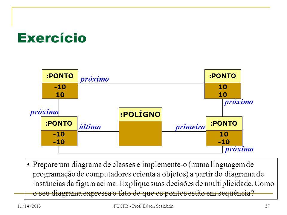 11/14/2013 PUCPR - Prof. Edson Scalabrin 57 Exercício Prepare um diagrama de classes e implemente-o (numa linguagem de programação de computadores ori