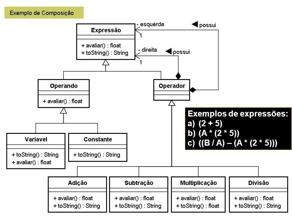 11/14/2013 PUCPR - Prof. Edson Scalabrin 62 Exemplos de expressões: a)(2 + 5) b)(A * (2 * 5)) c)((B / A) – (A * (2 * 5)))