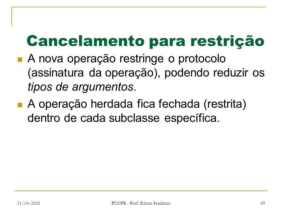 11/14/2013 PUCPR - Prof. Edson Scalabrin 69 Cancelamento para restrição A nova operação restringe o protocolo (assinatura da operação), podendo reduzi