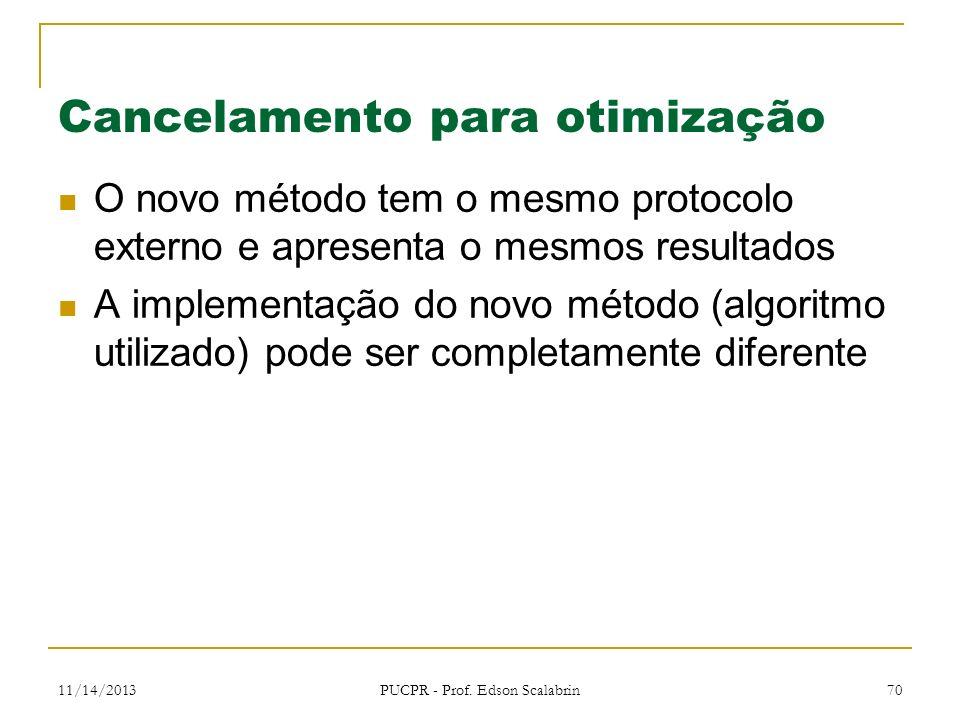 11/14/2013 PUCPR - Prof. Edson Scalabrin 70 Cancelamento para otimização O novo método tem o mesmo protocolo externo e apresenta o mesmos resultados A