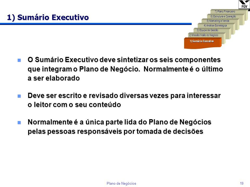 18Plano de Negócios Componentes do Plano de Negócio Identificação de uma oportunidade (Idéia) Negócio (Resultado) 7) Plano Financeiro 4) Análise Estra