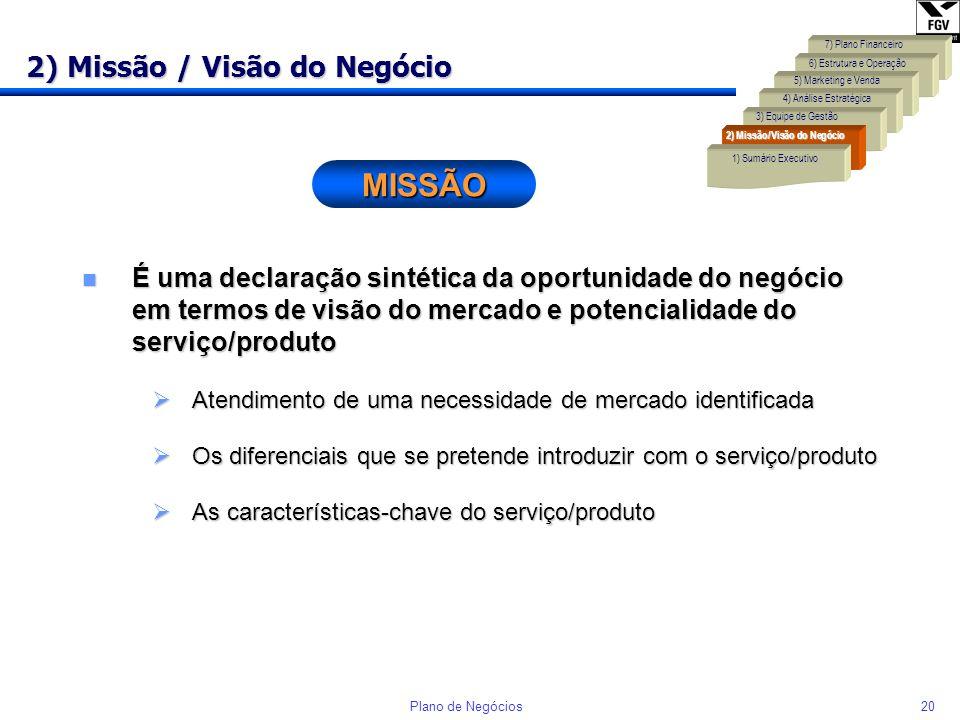 19Plano de Negócios 1) Sumário Executivo n O Sumário Executivo deve sintetizar os seis componentes que integram o Plano de Negócio. Normalmente é o úl