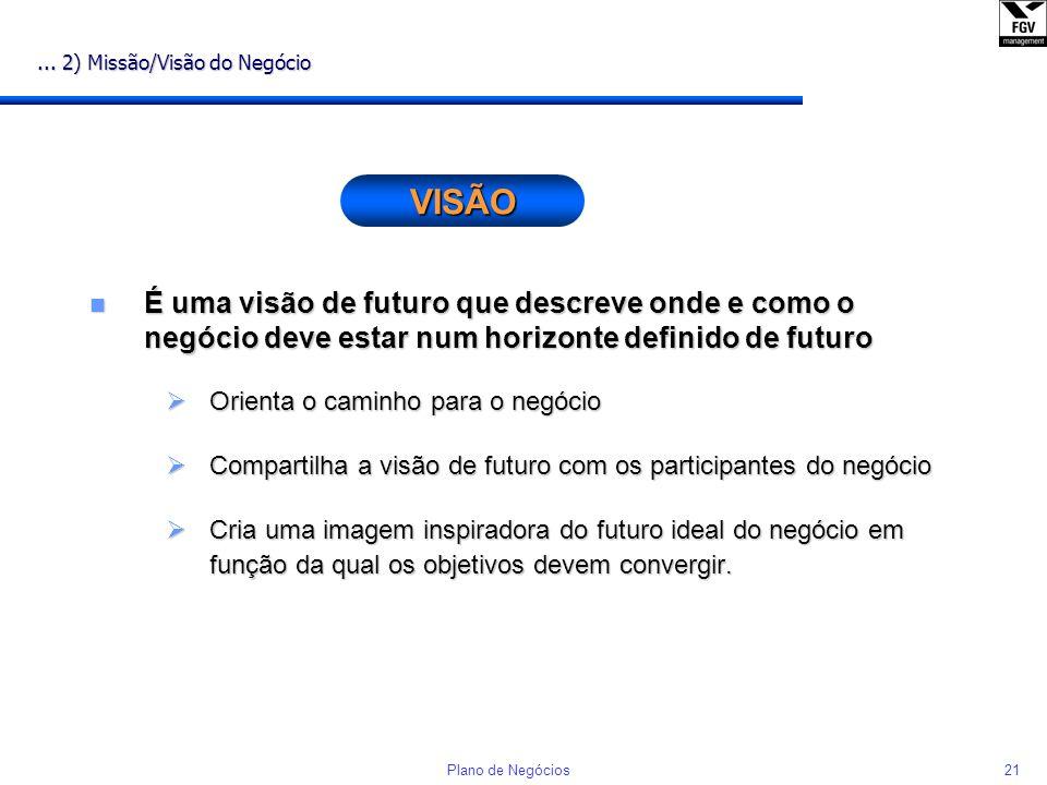 20Plano de Negócios 2) Missão / Visão do Negócio n É uma declaração sintética da oportunidade do negócio em termos de visão do mercado e potencialidad