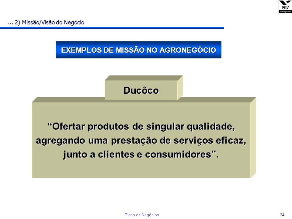 23Plano de Negócios MISSÃO E VISÃO DO NEGÓCIO... 2) Missão/Visão do Negócio Exemplo: COMPRAFÁCIL MISSÃO: n Fazer fornecedores e consumidores se comuni