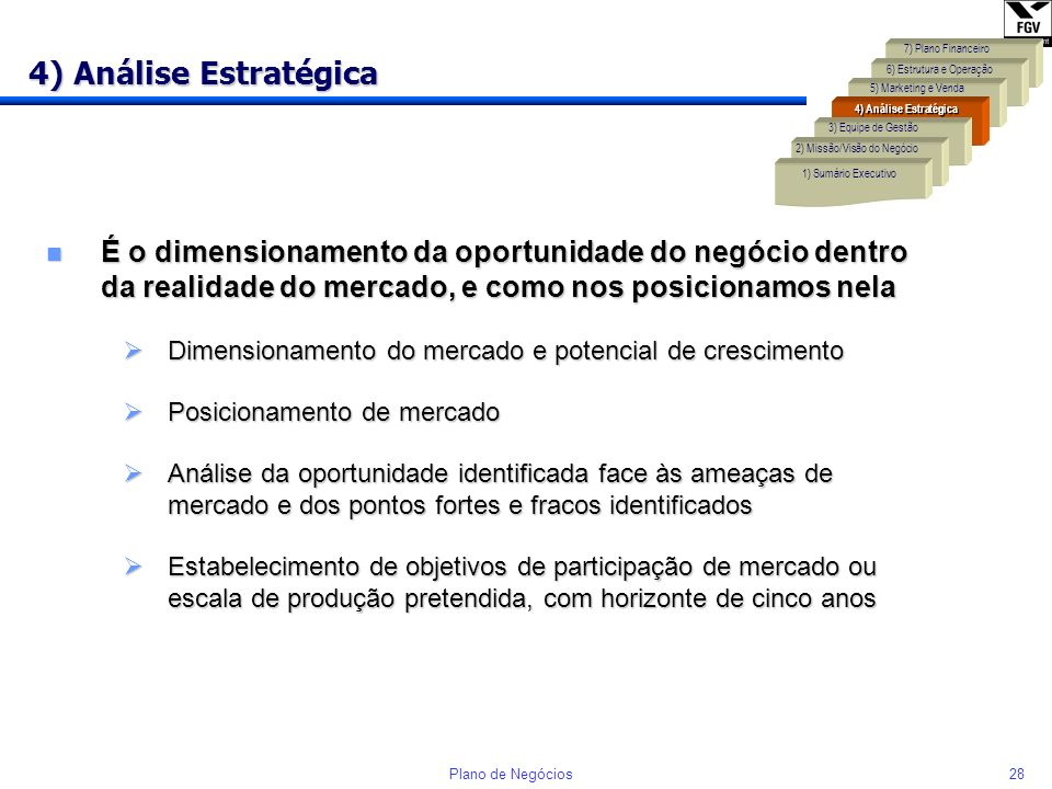 27Plano de Negócios 3) Equipe de Gestão Deve mostrar claramente a capacidade da equipe para ter sucesso na realização do Plano de Negócios n Indicar a