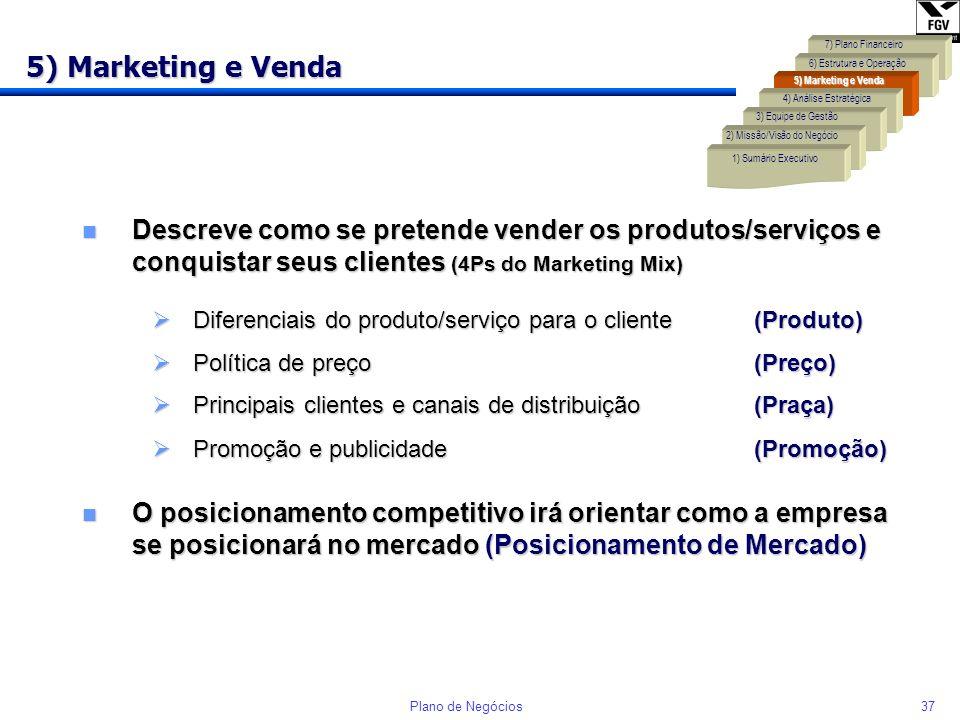 36Plano de Negócios Exemplo de Objetivos e Indicadores... 4) Análise Estratégica