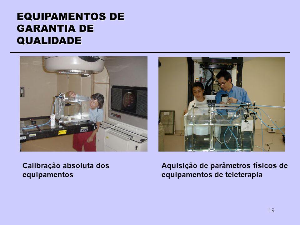 19 EQUIPAMENTOS DE GARANTIA DE QUALIDADE Calibração absoluta dos equipamentos Aquisição de parâmetros físicos de equipamentos de teleterapia