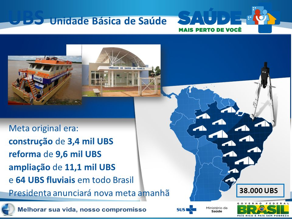Meta original era: construção de 3,4 mil UBS reforma de 9,6 mil UBS ampliação de 11,1 mil UBS e 64 UBS fluviais em todo Brasil Presidenta anunciará no
