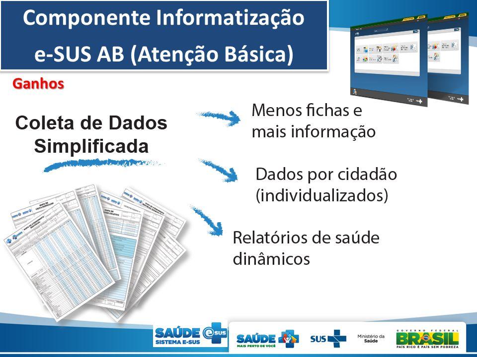 Componente Informatização e-SUS AB (Atenção Básica) Componente Informatização e-SUS AB (Atenção Básica) Ganhos
