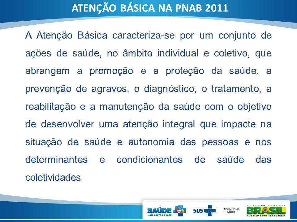 A Atenção Básica caracteriza-se por um conjunto de ações de saúde, no âmbito individual e coletivo, que abrangem a promoção e a proteção da saúde, a p