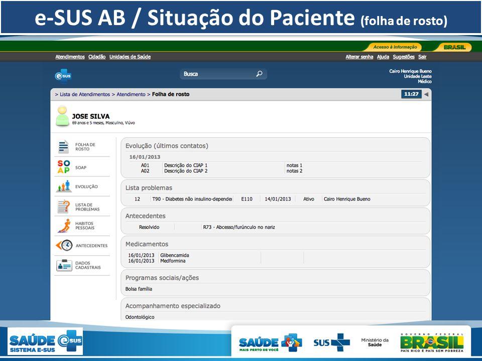 e-SUS AB / Situação do Paciente (folha de rosto)