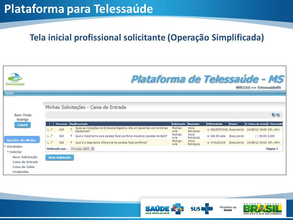 Tela inicial profissional solicitante (Operação Simplificada) Plataforma para Telessaúde