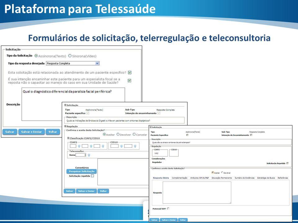 Formulários de solicitação, telerregulação e teleconsultoria Plataforma para Telessaúde