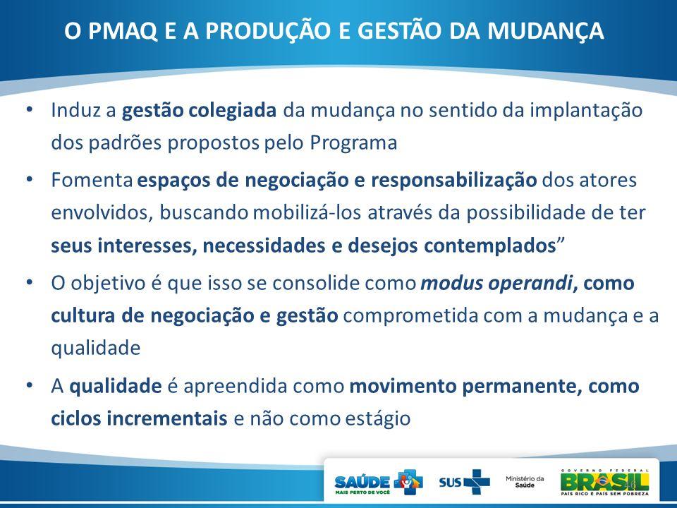 Induz a gestão colegiada da mudança no sentido da implantação dos padrões propostos pelo Programa Fomenta espaços de negociação e responsabilização do