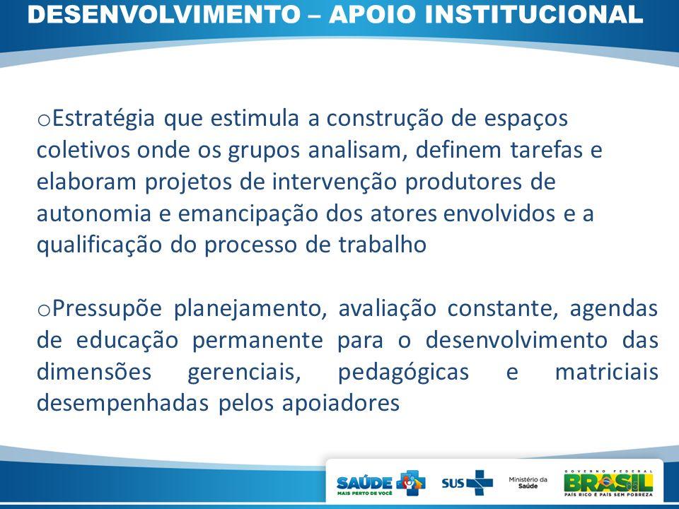 DESENVOLVIMENTO – APOIO INSTITUCIONAL o Estratégia que estimula a construção de espaços coletivos onde os grupos analisam, definem tarefas e elaboram