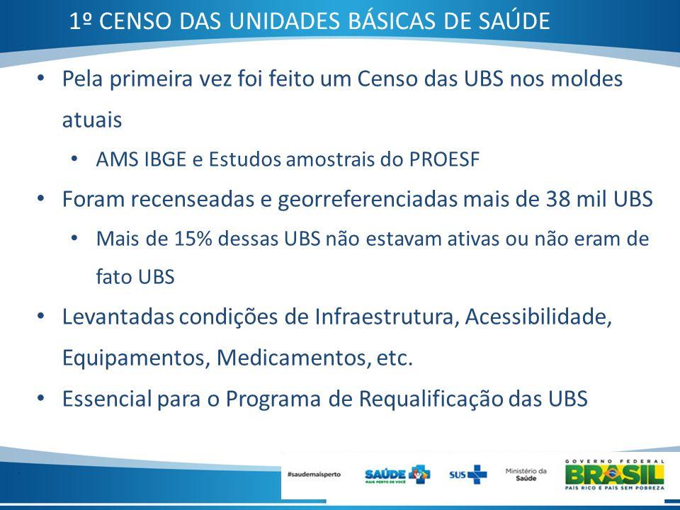 . Pela primeira vez foi feito um Censo das UBS nos moldes atuais AMS IBGE e Estudos amostrais do PROESF Foram recenseadas e georreferenciadas mais de
