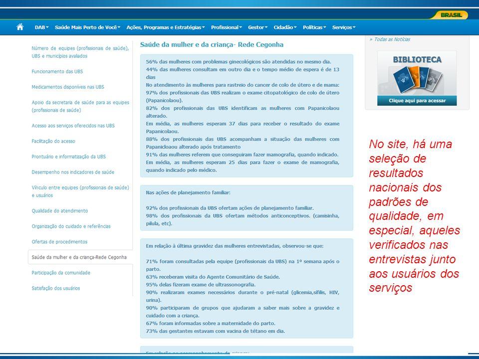 No site, há uma seleção de resultados nacionais dos padrões de qualidade, em especial, aqueles verificados nas entrevistas junto aos usuários dos serv