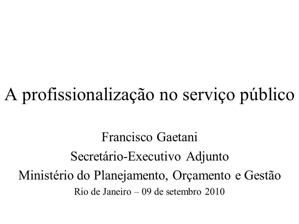 A profissionalização no serviço público Francisco Gaetani Secretário-Executivo Adjunto Ministério do Planejamento, Orçamento e Gestão Rio de Janeiro –