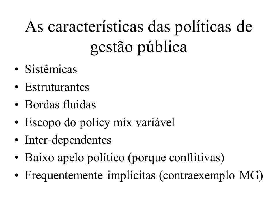 As características das políticas de gestão pública Sistêmicas Estruturantes Bordas fluidas Escopo do policy mix variável Inter-dependentes Baixo apelo