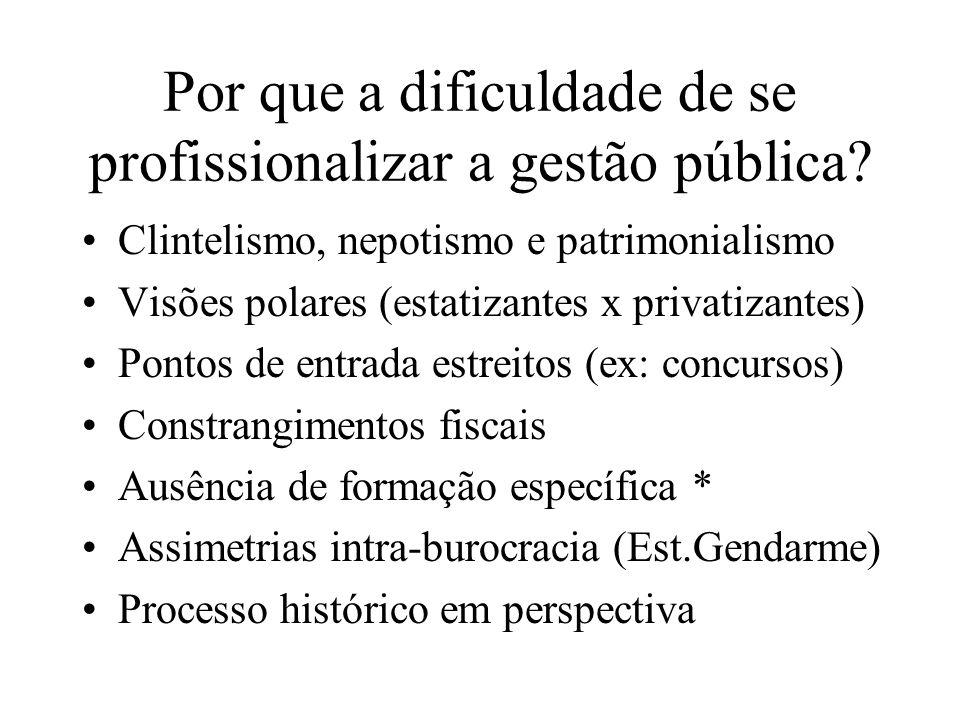 Por que a dificuldade de se profissionalizar a gestão pública? Clintelismo, nepotismo e patrimonialismo Visões polares (estatizantes x privatizantes)