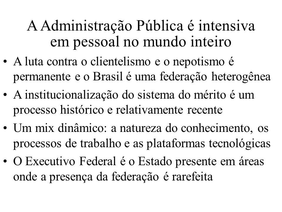 A Administração Pública é intensiva em pessoal no mundo inteiro A luta contra o clientelismo e o nepotismo é permanente e o Brasil é uma federação het
