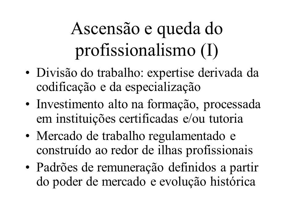 Ascensão e queda do profissionalismo (I) Divisão do trabalho: expertise derivada da codificação e da especialização Investimento alto na formação, pro