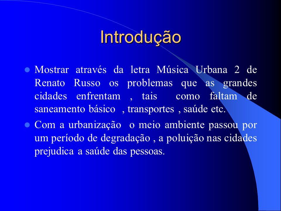 Introdução Mostrar através da letra Música Urbana 2 de Renato Russo os problemas que as grandes cidades enfrentam, tais como faltam de saneamento básico, transportes, saúde etc.