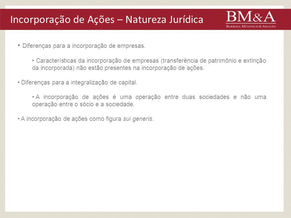 Incorporação de Ações – Natureza Jurídica Diferenças para a incorporação de empresas. Características da incorporação de empresas (transferência de pa