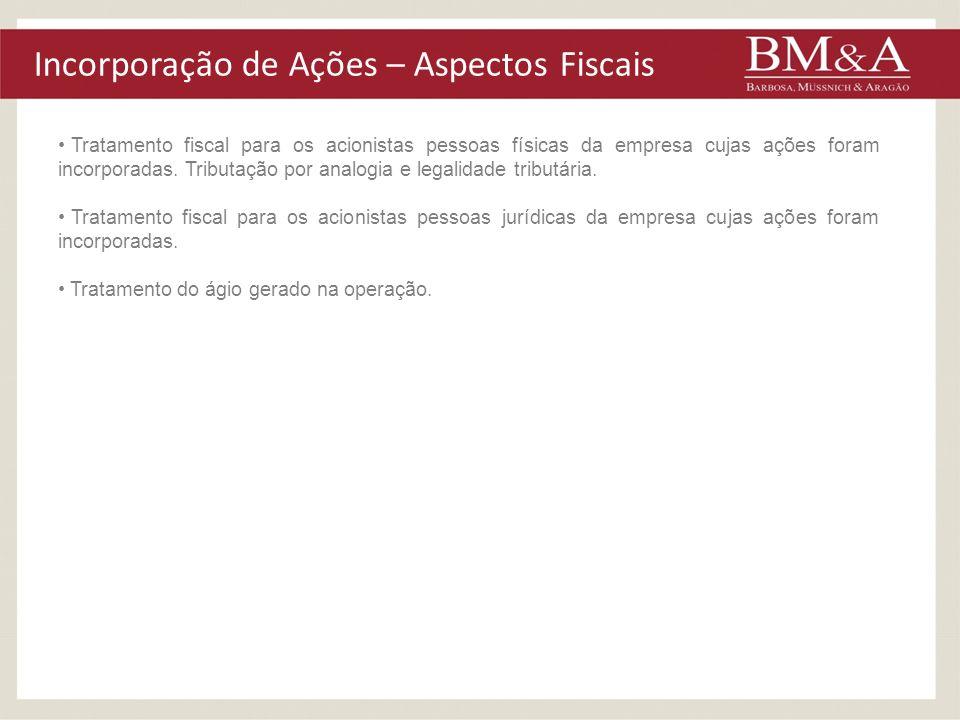 Incorporação de Ações – Aspectos Fiscais Tratamento fiscal para os acionistas pessoas físicas da empresa cujas ações foram incorporadas. Tributação po