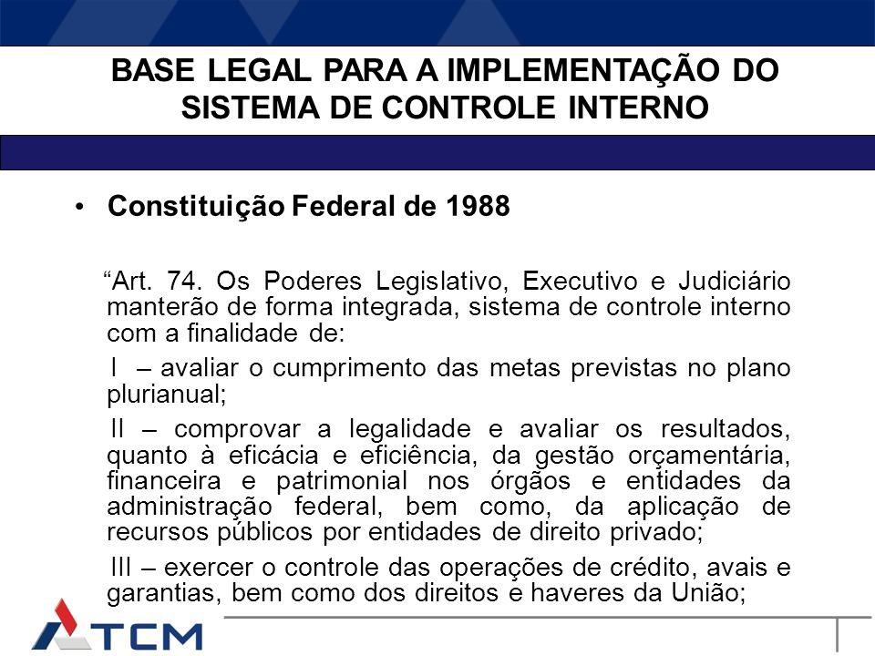 BASE LEGAL PARA A IMPLEMENTAÇÃO DO SISTEMA DE CONTROLE INTERNO Constituição Federal de 1988 Art. 70. A fiscalização contábil, financeira, orçamentária
