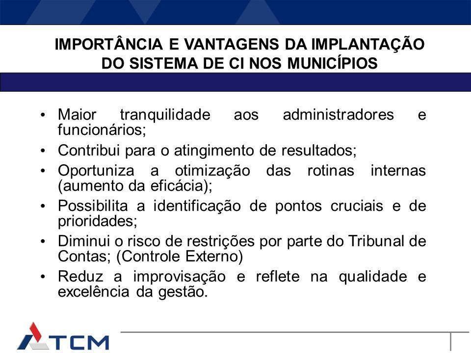 ASPECTOS POLÊMICOS DA IMPLANTAÇÃO DE UM SISTEMA DE CONTROLE INTERNO (barreiras) A vontade da Alta Administração e o entendimento dos benefícios de um