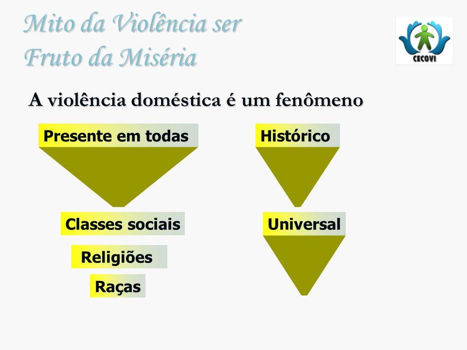 Mito da Violência ser Fruto da Miséria A violência doméstica é um fenômeno Histórico Universal Religiões Presente em todas Classes sociais Raças