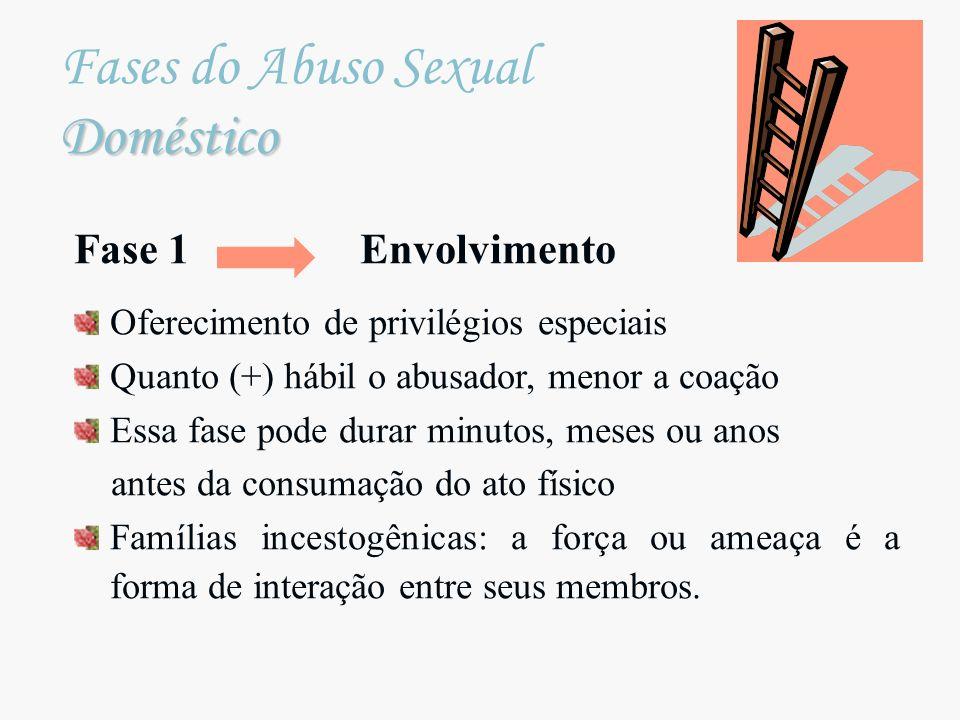 Doméstico Fases do Abuso Sexual Doméstico Fase 1 Envolvimento Oferecimento de privilégios especiais Quanto (+) hábil o abusador, menor a coação Essa f