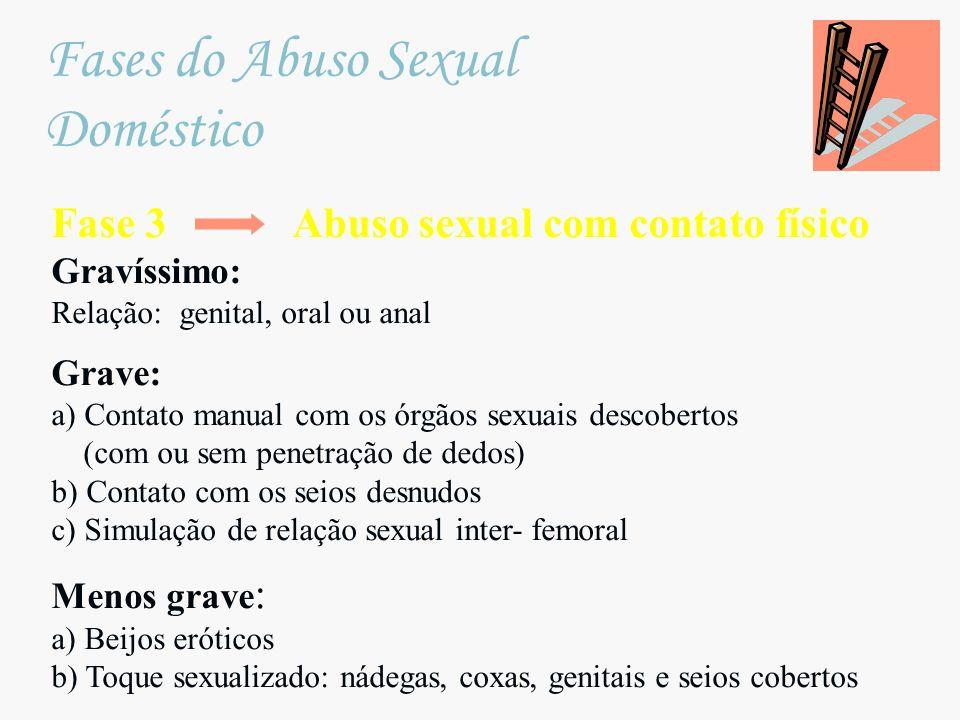 Fase 3 Abuso sexual com contato físico Gravíssimo: Relação: genital, oral ou anal Grave: a) Contato manual com os órgãos sexuais descobertos (com ou s