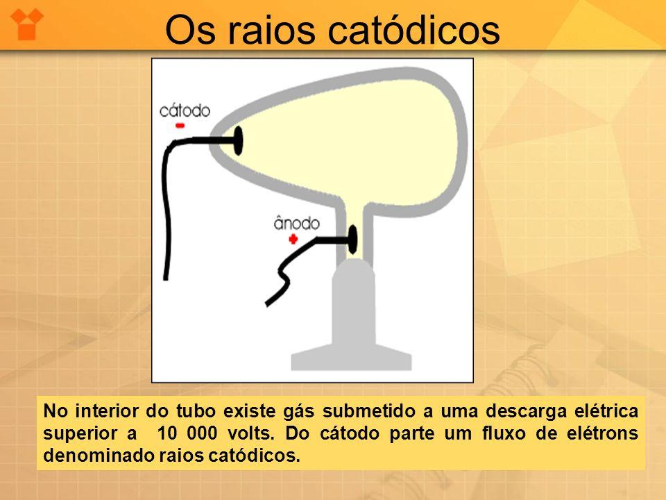 Os raios catódicos No interior do tubo existe gás submetido a uma descarga elétrica superior a 10 000 volts. Do cátodo parte um fluxo de elétrons deno