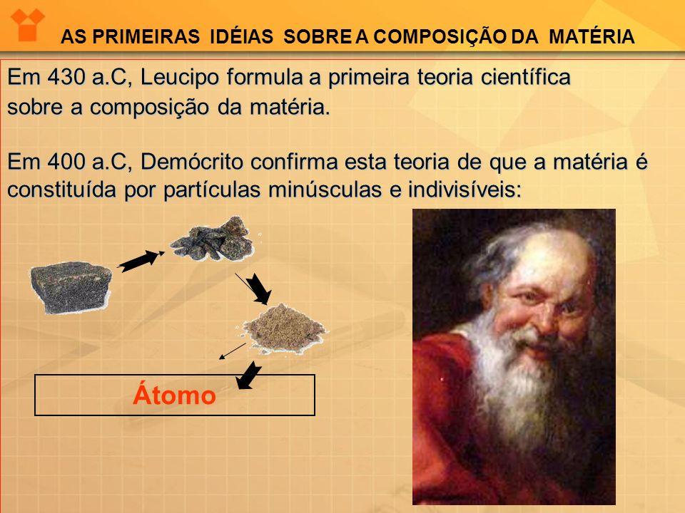 Em 430 a.C, Leucipo formula a primeira teoria científica sobre a composição da matéria. Em 400 a.C, Demócrito confirma esta teoria de que a matéria é
