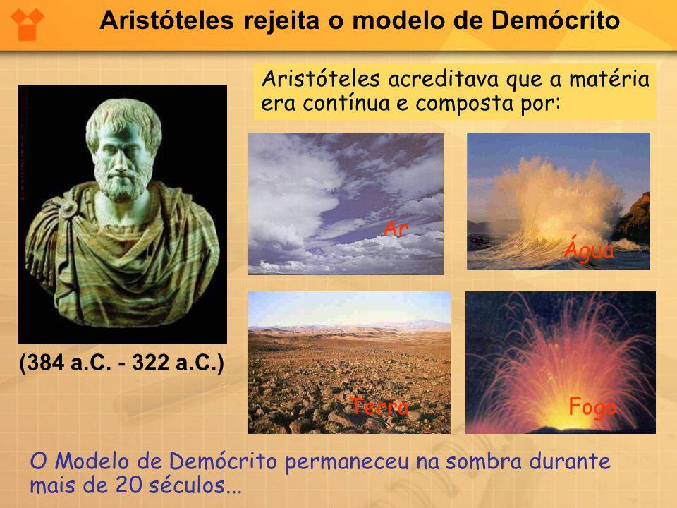 (384 a.C. - 322 a.C.) Aristóteles acreditava que a matéria era contínua e composta por: O Modelo de Demócrito permaneceu na sombra durante mais de 20