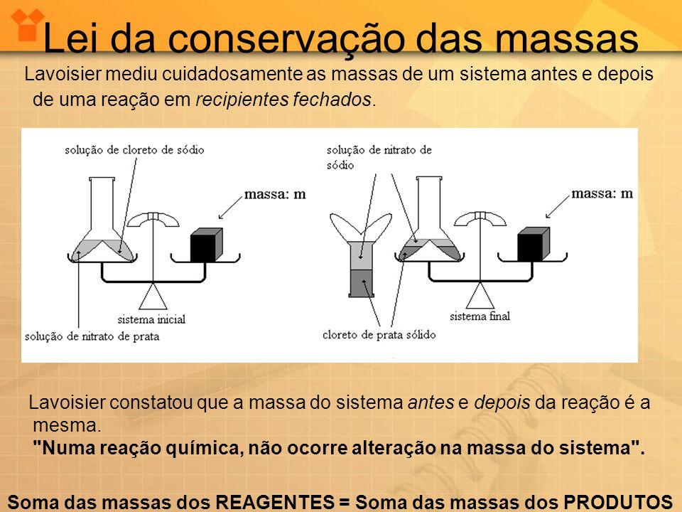 Lei da conservação das massas Lavoisier mediu cuidadosamente as massas de um sistema antes e depois de uma reação em recipientes fechados.. Lavoisier