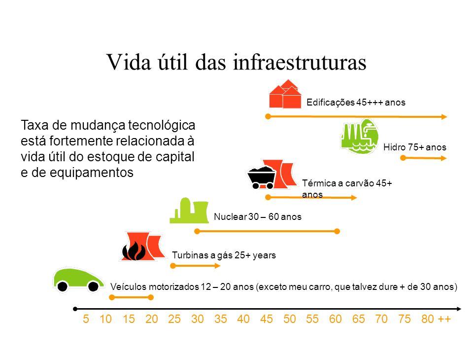 Vida útil das infraestruturas Taxa de mudança tecnológica está fortemente relacionada à vida útil do estoque de capital e de equipamentos 5 10 15 20 2