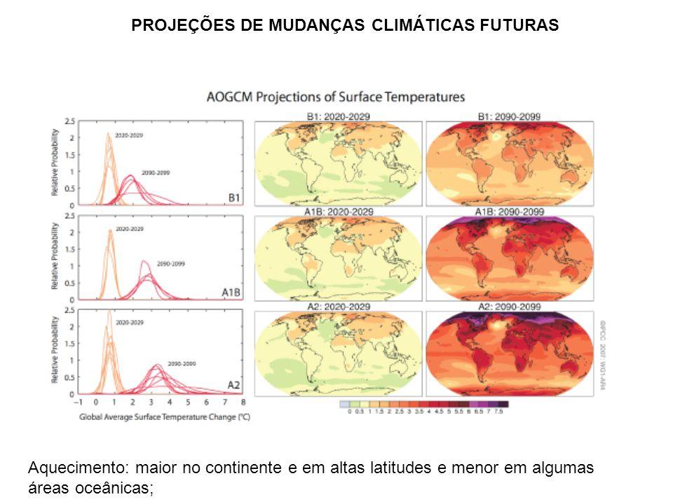 Aquecimento: maior no continente e em altas latitudes e menor em algumas áreas oceânicas; PROJEÇÕES DE MUDANÇAS CLIMÁTICAS FUTURAS