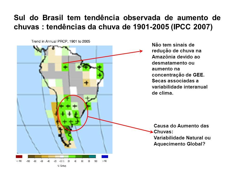 Sul do Brasil tem tendência observada de aumento de chuvas : tendências da chuva de 1901-2005 (IPCC 2007) Causa do Aumento das Chuvas: Variabilidade N