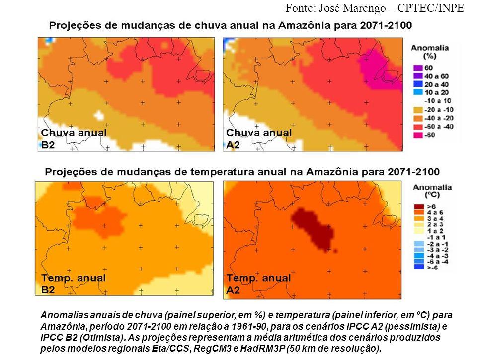 Anomalias anuais de chuva (painel superior, em %) e temperatura (painel inferior, em ºC) para Amazônia, período 2071-2100 em relação a 1961-90, para o