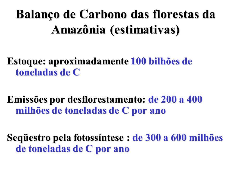 Balanço de Carbono das florestas da Amazônia (estimativas) Estoque: aproximadamente 100 bilhões de toneladas de C Emissões por desflorestamento: de 20